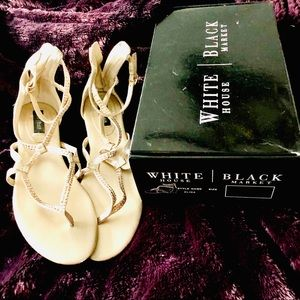 WHBM Gold With rhinestones sandals